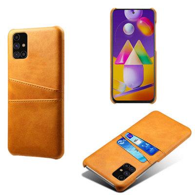 Samsung Galaxy M11 / A11 hoesje, MobyDefend Lederen Backcover Met Vakjes Voor Pasjes, Cognacbruin