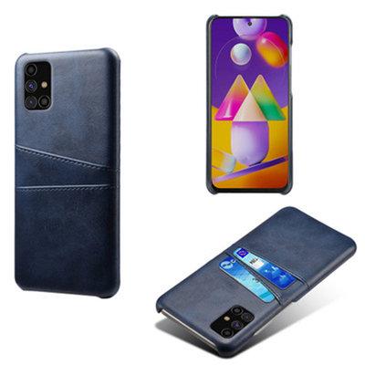 Samsung Galaxy M11 / A11 hoesje, MobyDefend Lederen Backcover Met Vakjes Voor Pasjes, Blauw