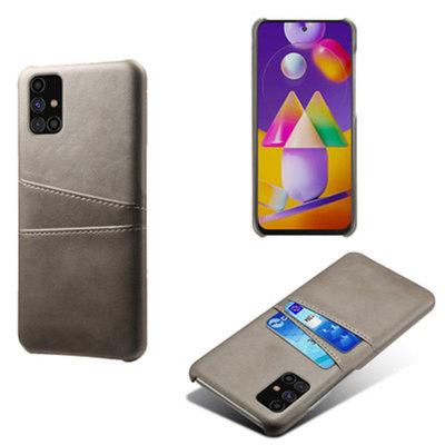 Samsung Galaxy M11 / A11 hoesje, MobyDefend Lederen Backcover Met Vakjes Voor Pasjes, Grijs