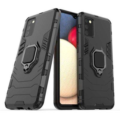 Samsung Galaxy A02s hoesje, MobyDefend Dubbelgelaagde Pantsercase Met Standaard, Zwart