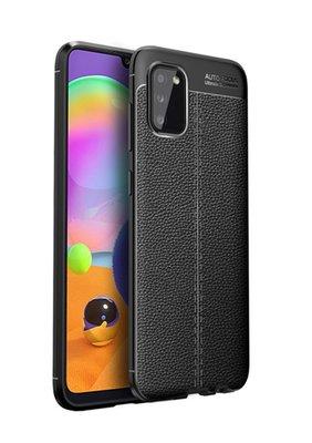 Samsung Galaxy A02s hoesje, MobyDefend TPU Gelcase, Lederlook, Zwart