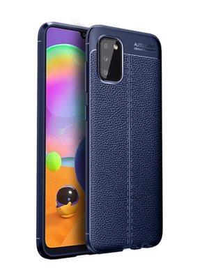 Samsung Galaxy A02s hoesje, MobyDefend TPU Gelcase, Lederlook, Navy blauw