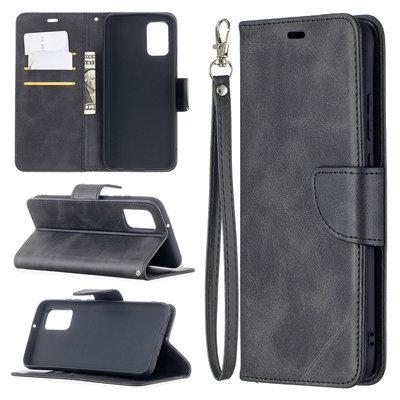 Samsung Galaxy A02s hoesje, MobyDefend Wallet Book Case Met Koord, Zwart