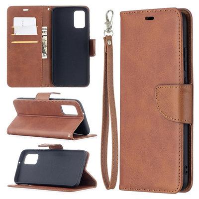 Samsung Galaxy A02s hoesje, MobyDefend Wallet Book Case Met Koord, Bruin
