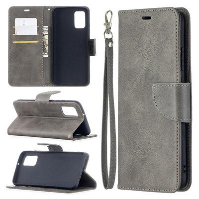 Samsung Galaxy A02s hoesje, MobyDefend Wallet Book Case Met Koord, Grijs