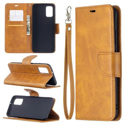 Samsung Galaxy A02s hoesje, MobyDefend Wallet Book Case Met Koord, Lichtbruin
