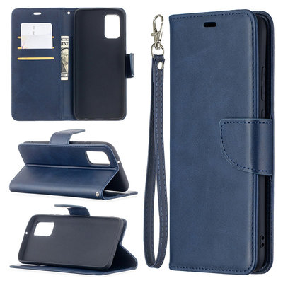 Samsung Galaxy A02s hoesje, MobyDefend Wallet Book Case Met Koord, Blauw