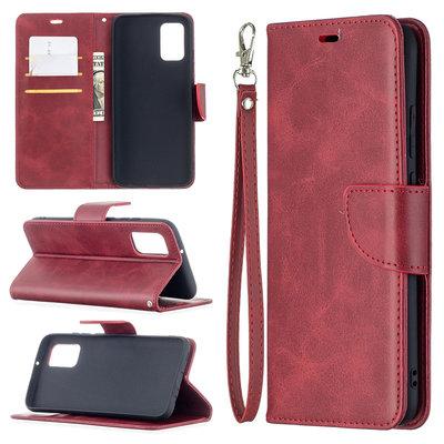 Samsung Galaxy A02s hoesje, MobyDefend Wallet Book Case Met Koord, Rood