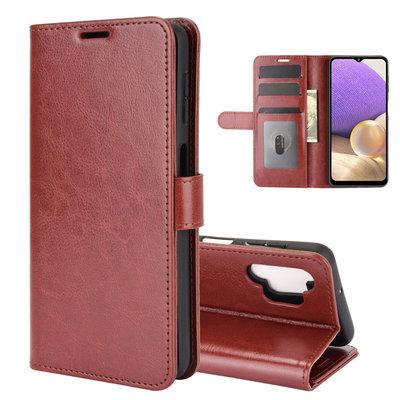 Samsung Galaxy A32 (4G) hoesje, MobyDefend Wallet Book Case (Sluiting Achterkant), Bruin