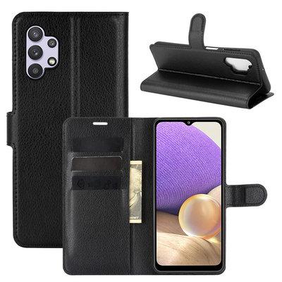Samsung Galaxy A32 (4G) hoesje, MobyDefend Kunstleren Wallet Book Case, Zwart