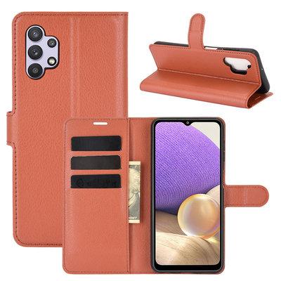 Samsung Galaxy A32 (4G) hoesje, MobyDefend Kunstleren Wallet Book Case, Bruin