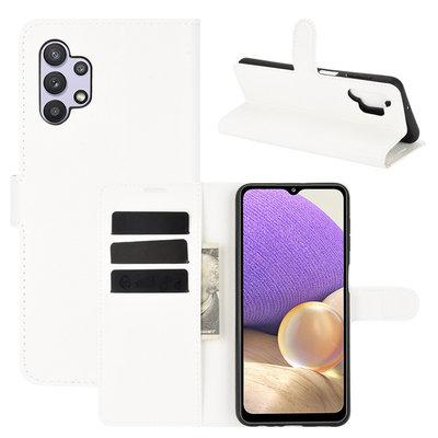 Samsung Galaxy A32 (4G) hoesje, MobyDefend Kunstleren Wallet Book Case, Wit