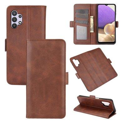 Samsung Galaxy A32 (4G), hoesje, MobyDefend Luxe Wallet Book Case (Sluiting Zijkant), Bruin