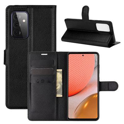 Samsung Galaxy A72 hoesje, MobyDefend Kunstleren Wallet Book Case, Zwart