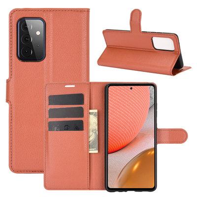 Samsung Galaxy A72 hoesje, MobyDefend Kunstleren Wallet Book Case, Bruin
