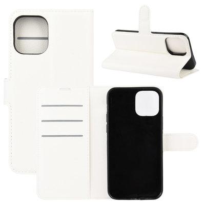 Apple iPhone 12 / iPhone 12 Pro hoesje, MobyDefend Kunstleren Wallet Book Case, Wit