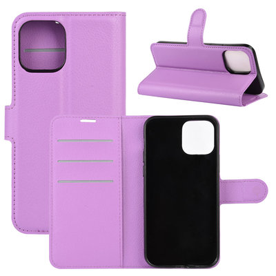Apple iPhone 12 / iPhone 12 Pro hoesje, MobyDefend Kunstleren Wallet Book Case, Paars