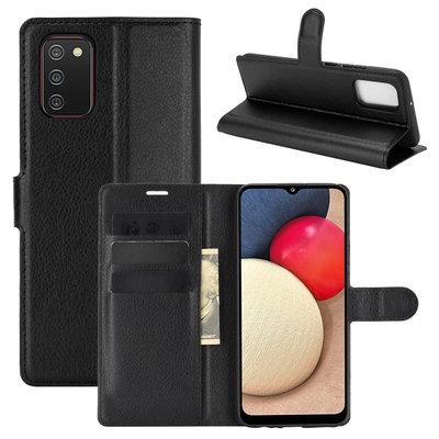 Samsung Galaxy A02s hoesje, MobyDefend Kunstleren Wallet Book Case, Zwart