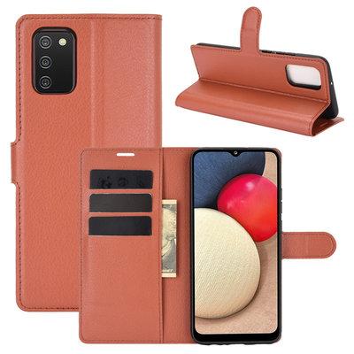 Samsung Galaxy A02s hoesje, MobyDefend Kunstleren Wallet Book Case, Bruin