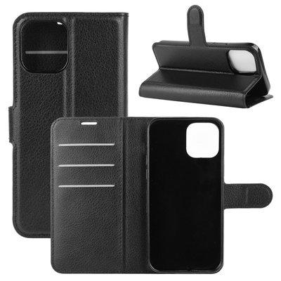 Apple iPhone 12 Mini hoesje, MobyDefend Kunstleren Wallet Book Case, Zwart