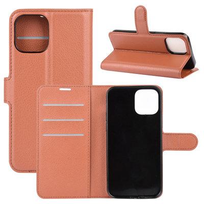 Apple iPhone 12 Mini hoesje, MobyDefend Kunstleren Wallet Book Case, Bruin
