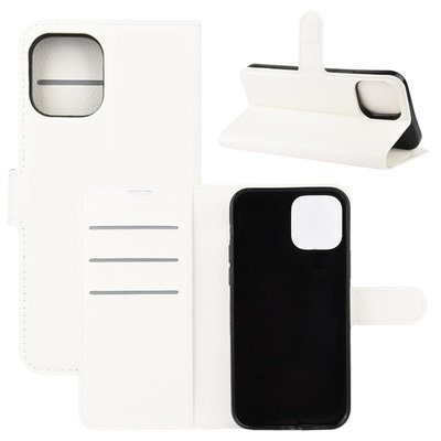 Apple iPhone 12 Mini hoesje, MobyDefend Kunstleren Wallet Book Case, Wit