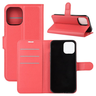Apple iPhone 12 Mini hoesje, MobyDefend Kunstleren Wallet Book Case, Rood