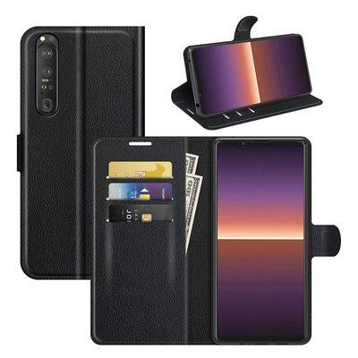 Sony Xperia 1 III hoesje, MobyDefend Kunstleren Wallet Book Case, Zwart