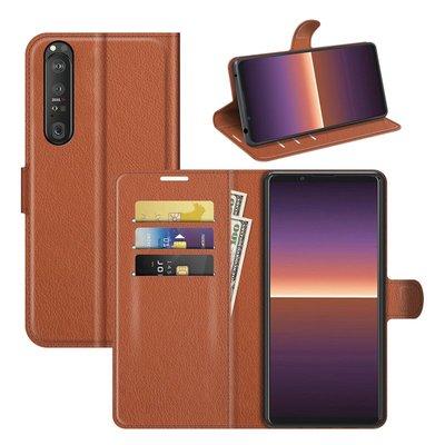 Sony Xperia 1 III hoesje, MobyDefend Kunstleren Wallet Book Case, Bruin