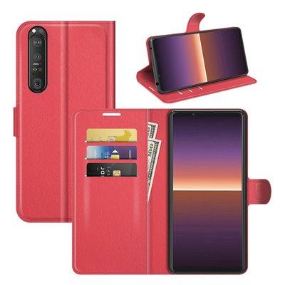 Sony Xperia 1 III hoesje, MobyDefend Kunstleren Wallet Book Case, Rood