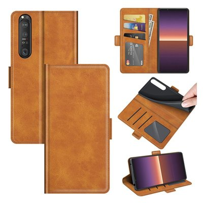 Sony Xperia 1 III hoesje, MobyDefend Luxe Wallet Book Case (Sluiting Zijkant), Lichtbruin