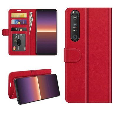 Sony Xperia 1 III hoesje, MobyDefend Wallet Book Case (Sluiting Achterkant), Rood