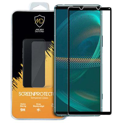 Sony Xperia 5 III screenprotector, MobyDefend gehard glas screensaver, Zwarte randen