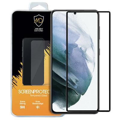 Samsung Galaxy S21 screenprotector, MobyDefend gehard glas screensaver, Zwarte randen