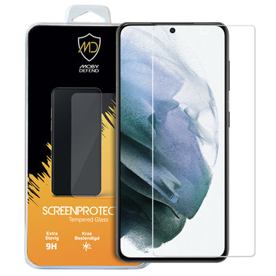 Samsung Galaxy S21 screenprotector, MobyDefend Case-Friendly Gehard Glas Screensaver