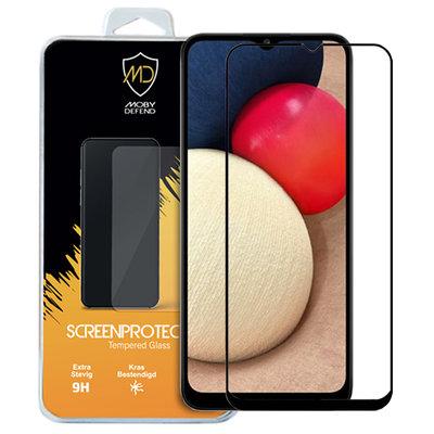 Samsung Galaxy A02s screenprotector, MobyDefend gehard glas screensaver, Zwarte randen
