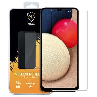 Samsung Galaxy A02s screenprotector, MobyDefend Case-Friendly Gehard Glas Screensaver