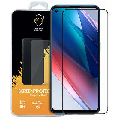 Oppo Find X3 Lite screenprotector, MobyDefend gehard glas screensaver, Zwarte randen