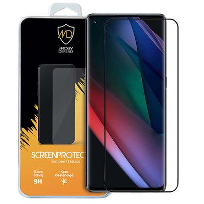 Oppo Find X3 Neo screenprotector, MobyDefend gehard glas screensaver, Zwarte randen