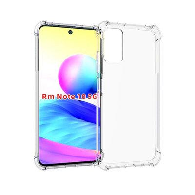 Xiaomi Redmi Note 10 5G hoesje, MobyDefend Transparante Shockproof TPU Gelcase, Verstevigde Hoeken, Volledig Doorzichtig