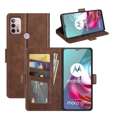 Motorola Moto G30 / G20 / G10 hoesje, MobyDefend Luxe Wallet Book Case (Sluiting Zijkant), Bruin
