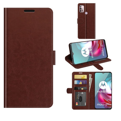 Motorola Moto G30 / G20 / G10 hoesje, MobyDefend Wallet Book Case (Sluiting Achterkant), Bruin