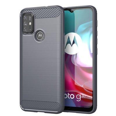 Motorola Moto G30 / G20 / G10 hoesje, MobyDefend TPU Gelcase, Geborsteld Metaal + Carbonlook, Grijs
