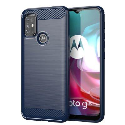 Motorola Moto G30 / G20 / G10 hoesje, MobyDefend TPU Gelcase, Geborsteld Metaal + Carbonlook, Navy blauw