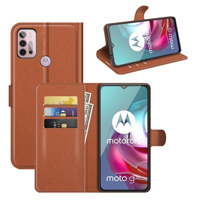 Motorola Moto G30 / G20 / G10 hoesje, MobyDefend Kunstleren Wallet Book Case, Bruin