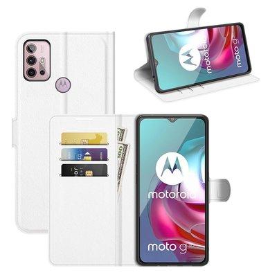 Motorola Moto G30 / G20 / G10 hoesje, MobyDefend Kunstleren Wallet Book Case, Wit