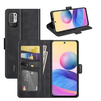 Xiaomi Redmi Note 10 5G hoesje, MobyDefend Luxe Wallet Book Case (Sluiting Zijkant), Zwart