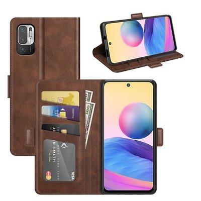 Xiaomi Redmi Note 10 5G hoesje, MobyDefend Luxe Wallet Book Case (Sluiting Zijkant), Bruin