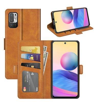 Xiaomi Redmi Note 10 5G hoesje, MobyDefend Luxe Wallet Book Case (Sluiting Zijkant), Lichtbruin