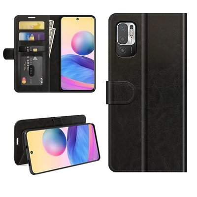 Xiaomi Redmi Note 10 5G hoesje, MobyDefend Wallet Book Case (Sluiting Achterkant), Zwart